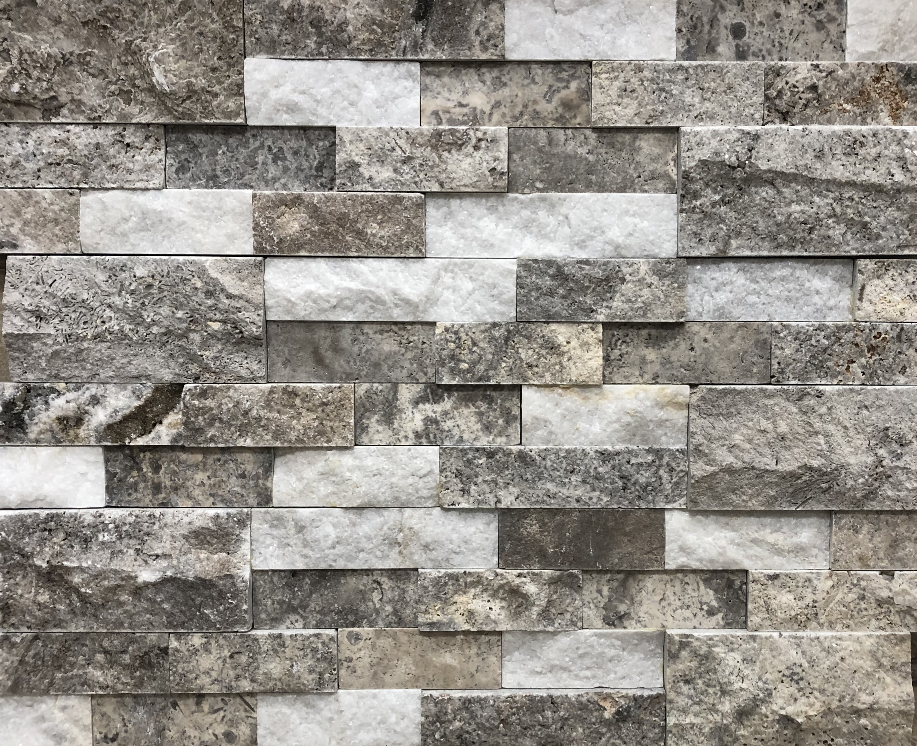 Silverado Mix (silver travertine and white marble)